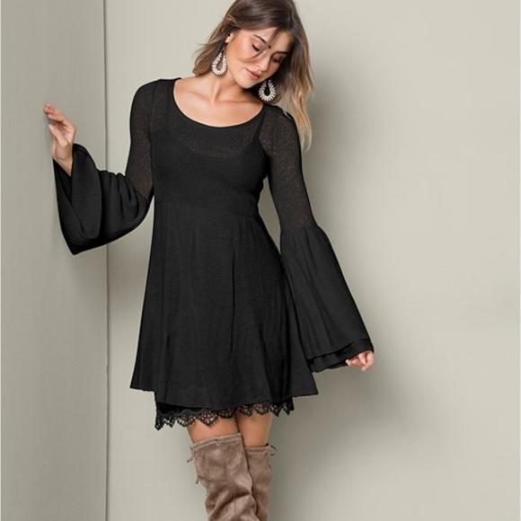 c4ad23732 VENUS Boho Sweater Dress NWOT Black. M_5bef80ecaa8770fcab51affc